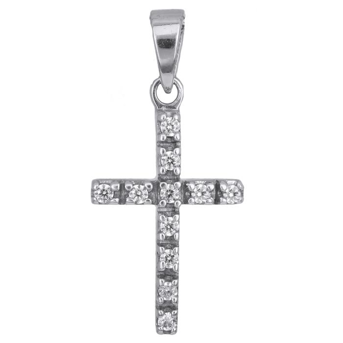 Λευκόχρυσος σταυρός με ζιργκόν 14 Κ 002439 002439 Χρυσός 14 Καράτια χρυσά κοσμήματα σταυροί