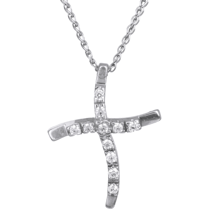Λευκόχρυσος σταυρός Κ14 C002441 002441C Χρυσός 14 Καράτια