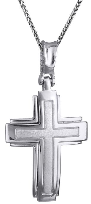Βαπτιστικοί Σταυροί με Αλυσίδα Ανδρικός σταυρός λευκόχρυσος Κ14 C002486 002486C Ανδρικό Χρυσός 14 Καράτια