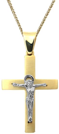 Βαπτιστικοί Σταυροί με Αλυσίδα Αντρικός σταυρός με Εσταυρωμένο Κ14 C002516 002516C Ανδρικό Χρυσός 14 Καράτια
