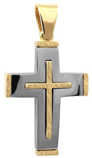 Σταυροί Βάπτισης - Αρραβώνα Δίχρωμος σταυρός 14Κ 002518 Ανδρικό Χρυσός 14 Καράτια