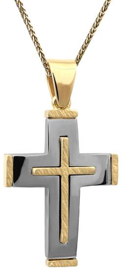 Βαπτιστικοί Σταυροί με Αλυσίδα Δίχρωμος σταυρός 14Κ C002518 002518C Ανδρικό Χρυσός 14 Καράτια