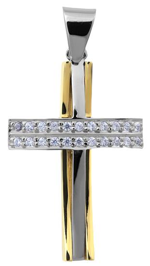 Σταυροί Βάπτισης - Αρραβώνα Δίχρωμος σταυρός 14Κ 002522 Γυναικείο Χρυσός 14 Καράτια