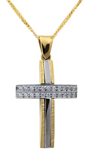 Βαπτιστικοί Σταυροί με Αλυσίδα ΒΑΠΤΙΣΤΙΚΟΙ ΣΤΑΥΡΟΙ C012502 012502C Γυναικείο Χρυσός 9 Καράτια