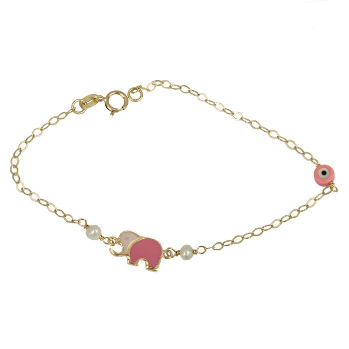 Βραχιόλι ελεφαντάκι για κοριτσάκι 9K 025255 025255 Χρυσός 9 Καράτια