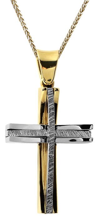 Βαπτιστικοί Σταυροί με Αλυσίδα Ανδρικός δίχρωμος σταυρός Κ14 C002536 002536C Ανδρικό Χρυσός 14 Καράτια