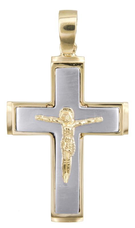 Σταυροί Βάπτισης - Αρραβώνα Δίχρωμος ανδρικός σταυρός Κ14 002565 002565 Ανδρικό Χρυσός 14 Καράτια