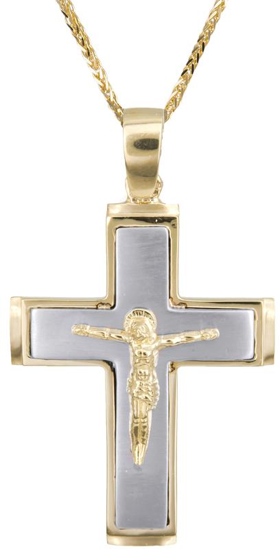 Βαπτιστικοί Σταυροί με Αλυσίδα Δίχρωμος σταυρός με καδένα Κ14 C002565 002565C Ανδρικό Χρυσός 14 Καράτια