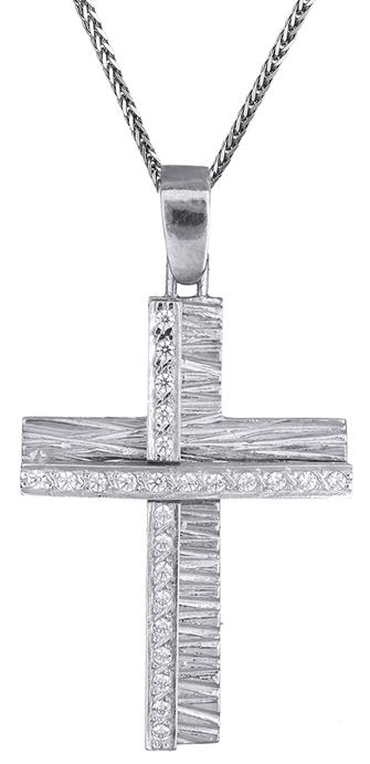Βαπτιστικοί Σταυροί με Αλυσίδα Λευκόχρυσος γυναικείος σταυρός Κ9 C012503 012503C Γυναικείο Χρυσός 9 Καράτια