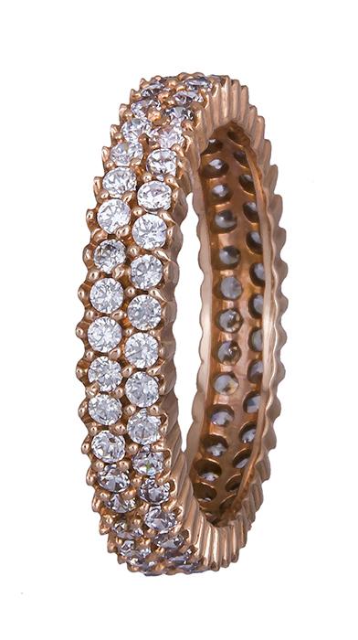 Ροζ gold διπλό δαχτυλίδι Κ14 002580 002580 Χρυσός 14 Καράτια
