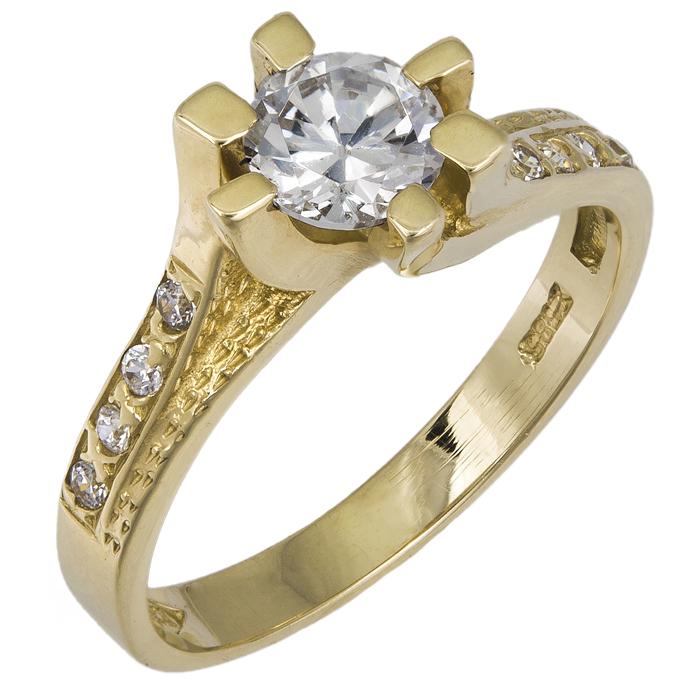Χρυσό μονόπετρο δαχτυλίδι 14Κ 002601 Χρυσός 14 Καράτια