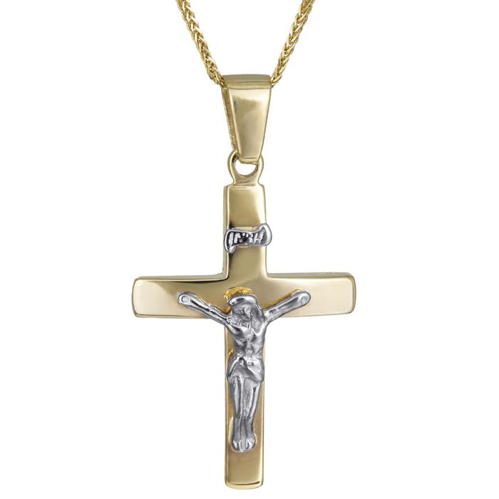 Βαπτιστικοί Σταυροί με Αλυσίδα Βαπτιστικός σταυρός με αλυσίδα 006038C Ανδρικό Χρυσός 14 Καράτια