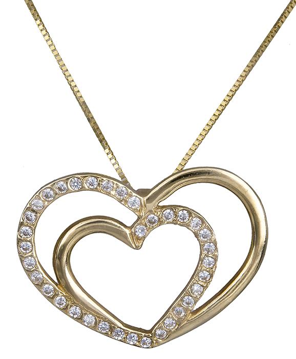 Κολιέ χρυσό καρδούλα Κ14 006123 006123 Χρυσός 14 Καράτια χρυσά κοσμήματα καρδιές