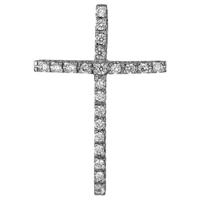 Σταυροί Βάπτισης - Αρραβώνα Λευκόχρυσος πετράτος σταυρός 14Κ 006234 006234 Γυναικείο Χρυσός 14 Καράτια