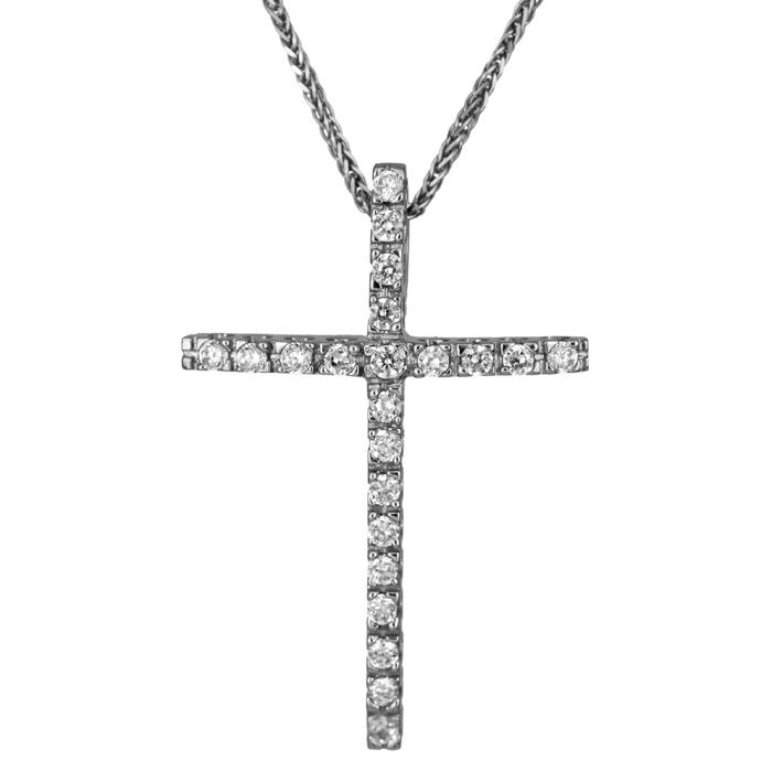 Βαπτιστικοί Σταυροί με Αλυσίδα Λευκόχρυσος πετράτος σταυρός με καδένα 006234C 006234C Γυναικείο Χρυσός 14 Καράτια