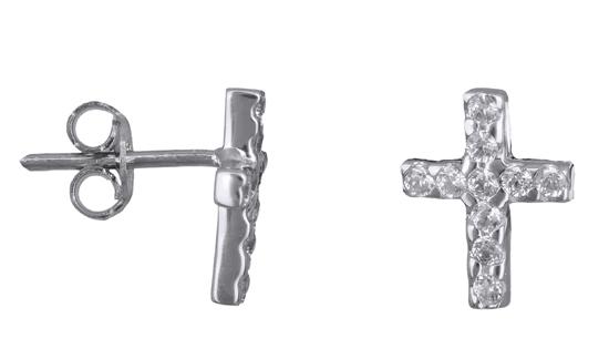 Λευκόχρυσα σκουλαρίκια σταυρός Κ14 006395 006395 Χρυσός 14 Καράτια