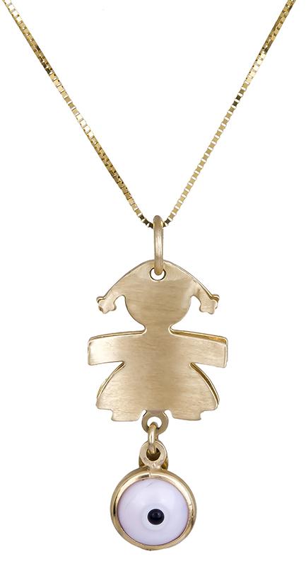 Παιδικό κολιέ χρυσό Κ14 με ματάκι C006480 006480C Χρυσός 14 Καράτια παιδικά κοσμήματα κρεμαστά