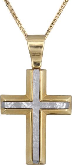 Βαπτιστικοί Σταυροί με Αλυσίδα Ανδρικός δίχρωμος σταυρός Κ14 C006500 006500C Ανδρικό Χρυσός 14 Καράτια