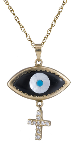 Κολιέ με πετράτο μάτι C006654 006654C Χρυσός 14 Καράτια