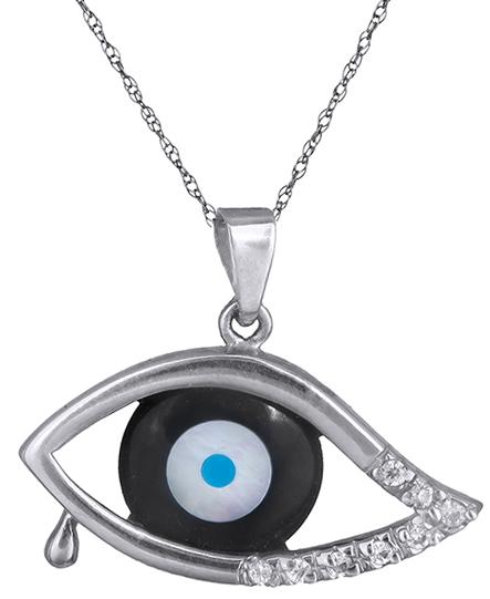 Κολιέ με λευκόχρυσο μαύρο μάτι 006701 006701 Χρυσός 14 Καράτια