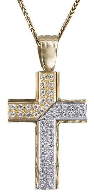 Βαπτιστικοί Σταυροί με Αλυσίδα Γυναικείος σταυρός με ζιργκόν 14Κ C006739 006739C Γυναικείο Χρυσός 14 Καράτια