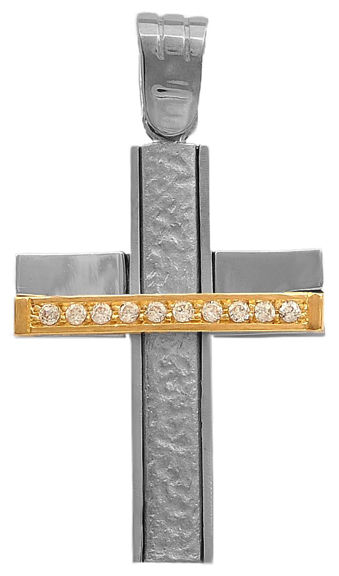Σταυροί Βάπτισης - Αρραβώνα Σταυρός δίχρωμος 14Κ 006740 006740 Γυναικείο Χρυσός 14 Καράτια