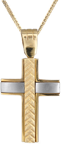 Βαπτιστικοί Σταυροί με Αλυσίδα Ανδρικός σταυρός C006751 006751C Ανδρικό Χρυσός 14 Καράτια