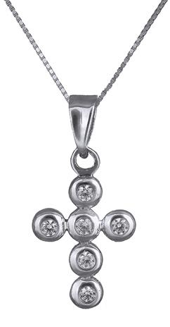 Λευκόχρυσος σταυρός με πέτρες ζιργκόν Κ14 C006846 006846C Χρυσός 14 Καράτια