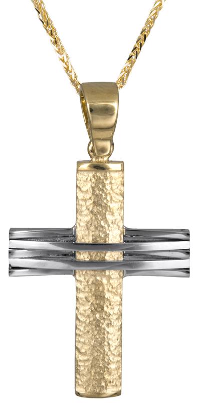Βαπτιστικοί Σταυροί με Αλυσίδα Ανδρικός σταυρός Κ14 C006896 006896C Ανδρικό Χρυσός 14 Καράτια