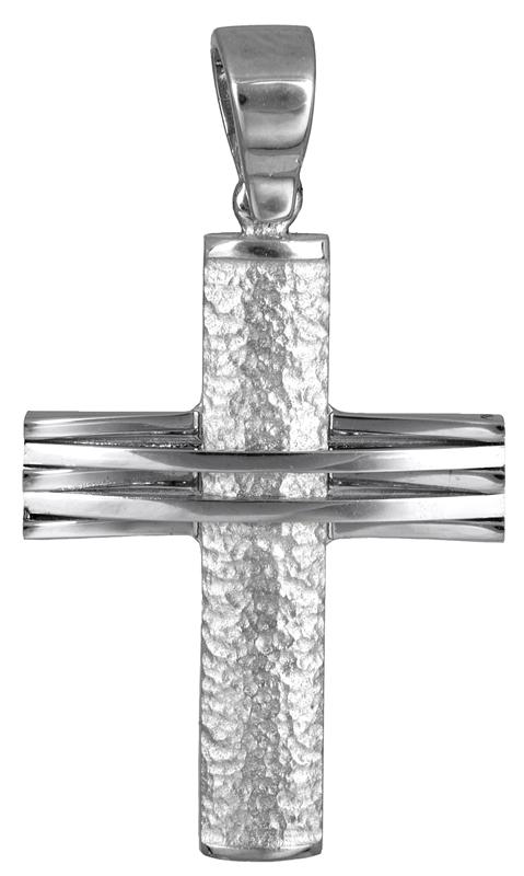 Σταυροί Βάπτισης - Αρραβώνα Λευκόχρυσος ανδρικός σταυρός Κ14 006897 006897 Ανδρικό Χρυσός 14 Καράτια