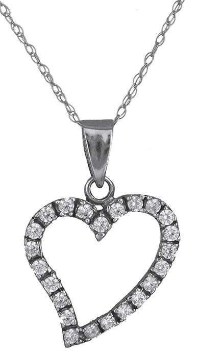 Καρδιά λευκόχρυση 14Κ - κολιέ 006916 006916 Χρυσός 14 Καράτια