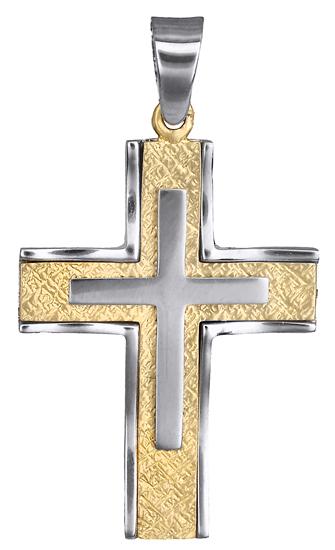 Σταυροί Βάπτισης - Αρραβώνα Σταυρός δίχρωμος Κ9 012491 012491 Ανδρικό Χρυσός 9 Καράτια