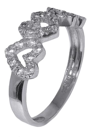 Δαχτυλίδι με καρδιές 006993 Χρυσός 14 Καράτια χρυσά κοσμήματα δαχτυλίδια με μαργαριτάρια και διάφορες πέτρες