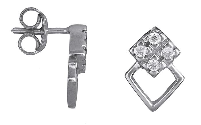 Λευκόχρυσα σκουλαρίκια με πέτρες 14Κ 007011 007011 Χρυσός 14 Καράτια