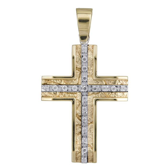 Σταυροί Βάπτισης - Αρραβώνα ΓΥΝΑΙΚΕΙΟΣ ΔΙΧΡΩΜΟΣ ΣΤΑΥΡΟΣ Κ14 ΜΕ ΖΙΡΓΚΟΝ 007021 007021 Γυναικείο Χρυσός 14 Καράτια