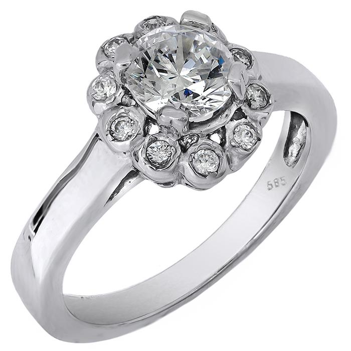 Λευκόχρυσο δαχτυλίδι με ζιργκόν Κ14 007201 007201 Χρυσός 14 Καράτια χρυσά κοσμήματα δαχτυλίδια μονόπετρα