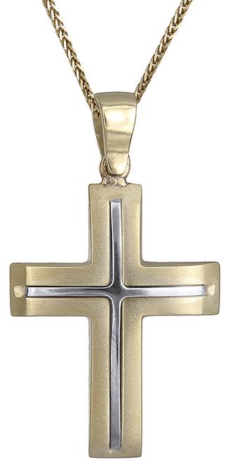 Βαπτιστικοί Σταυροί με Αλυσίδα Δίχρωμος σταυρός 14Κ C007237 007237C Ανδρικό Χρυσός 14 Καράτια