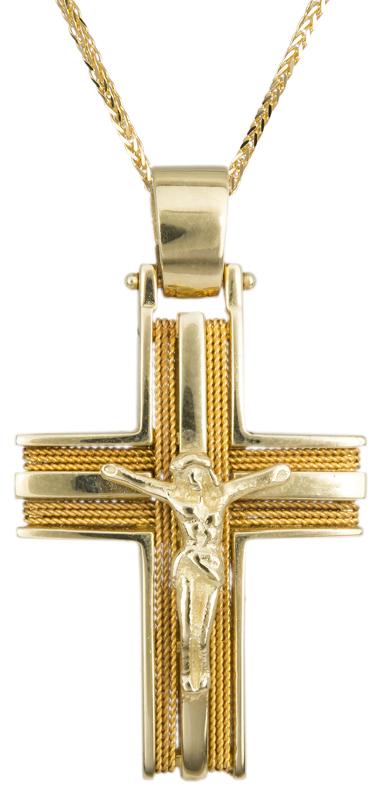 Βαπτιστικοί Σταυροί με Αλυσίδα ΧΡΥΣΟΙ ΣΤΑΥΡΟΙ ΜΕ ΑΛΥΣΙΔΑ 007253C Ανδρικό Χρυσός 14 Καράτια