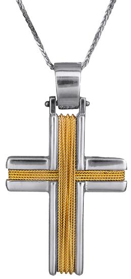 Βαπτιστικοί Σταυροί με Αλυσίδα Δίχρωμος σταυρός συρματερός 14Κ C007258 007258C Ανδρικό Χρυσός 14 Καράτια