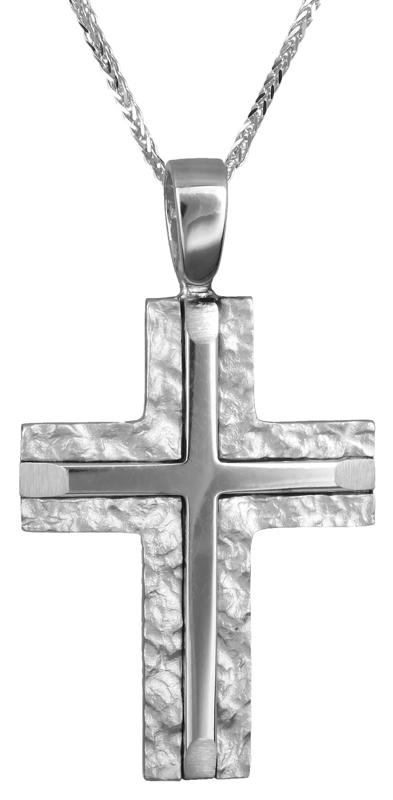 Βαπτιστικοί Σταυροί με Αλυσίδα Αντρικός σταυρός βάπτισης Κ14 C007296 007296C Ανδρικό Χρυσός 14 Καράτια