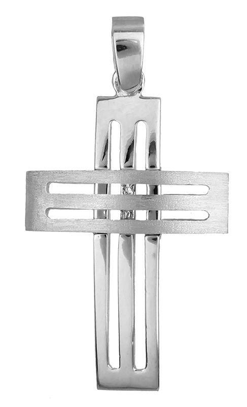 Σταυροί Βάπτισης - Αρραβώνα Λευκόχρυσος ανδρικός σταυρός Κ14 007301 007301 Ανδρικό Χρυσός 14 Καράτια