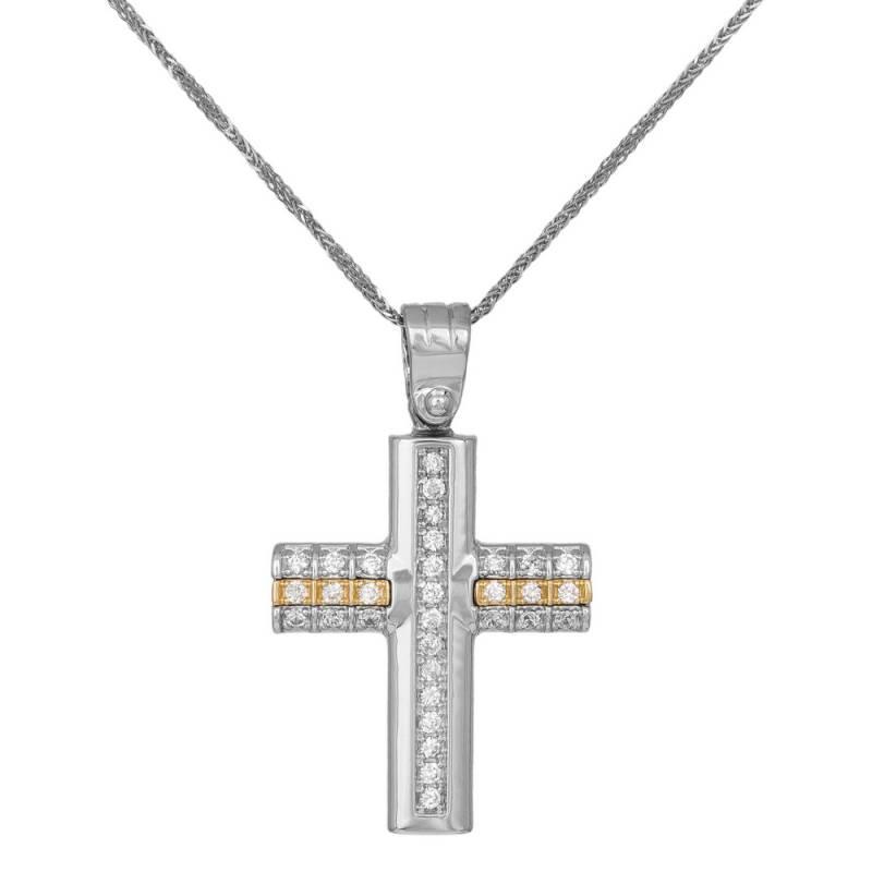 Βαπτιστικοί Σταυροί με Αλυσίδα Γυναικείος σταυρός C007302 007302C Γυναικείο Χρυσός 14 Καράτια
