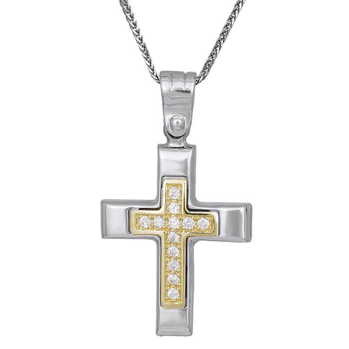 Βαπτιστικοί Σταυροί με Αλυσίδα Γυναικείος σταυρός C007309 007309C Γυναικείο Χρυσός 14 Καράτια