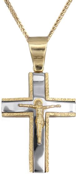 Βαπτιστικοί Σταυροί με Αλυσίδα Σταυρός για αγόρι Κ14 C007314 007314C Ανδρικό Χρυσός 14 Καράτια
