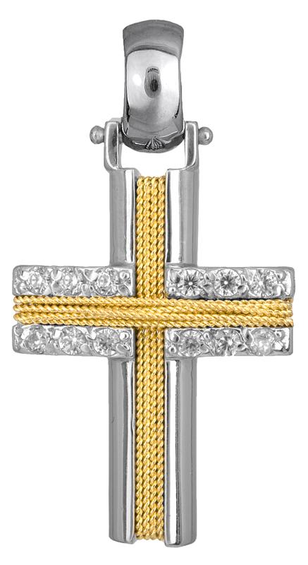 Σταυροί Βάπτισης - Αρραβώνα Γυναικείος δίχρωμος σταυρός Κ14 007325 007325 Γυναικείο Χρυσός 14 Καράτια