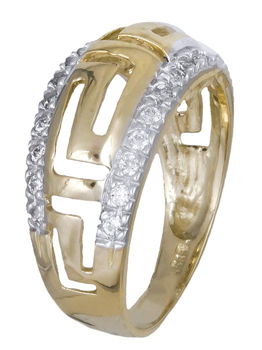 Γυναικείο δαχτυλίδι μαίανδρος 007372 007372 Χρυσός 14 Καράτια χρυσά κοσμήματα δαχτυλίδια με μαργαριτάρια και διάφορες πέτρες