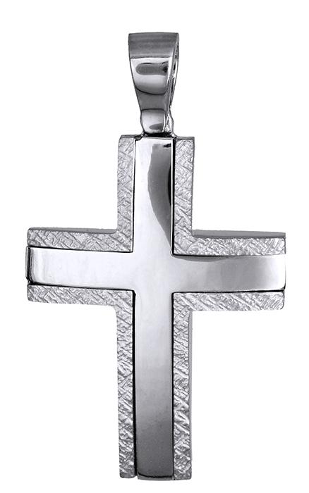 Σταυροί Βάπτισης - Αρραβώνα Βαπτιστικός λευκόχρυσος σταυρός 14Κ 007497 007497 Ανδρικό Χρυσός 14 Καράτια
