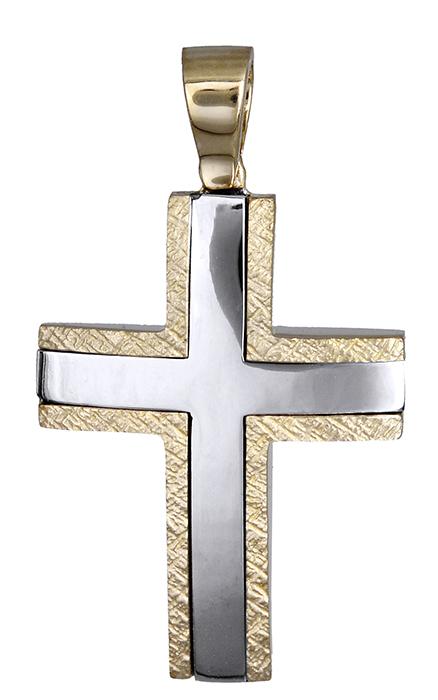Σταυροί Βάπτισης - Αρραβώνα Σταυρός δίχρωμος 14 καράτια 007855 007855 Ανδρικό Χρυσός 14 Καράτια