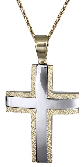 Βαπτιστικοί Σταυροί με Αλυσίδα Βαπτιστικός σταυρός δίχρωμος 14Κ C007855 007855C Ανδρικό Χρυσός 14 Καράτια