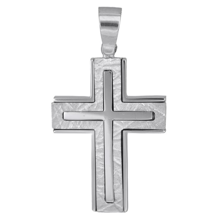Σταυροί Βάπτισης - Αρραβώνα Λευκόχρυσος αντρικός σταυρός Κ14 007856 007856 Ανδρικό Χρυσός 14 Καράτια